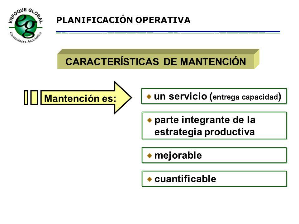 CARACTERÍSTICAS DE MANTENCIÓN