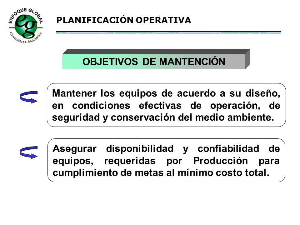 OBJETIVOS DE MANTENCIÓN