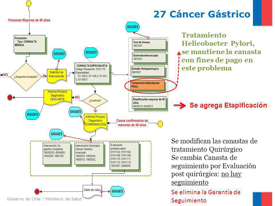 27 Cáncer Gástrico Tratamiento Helicobacter Pylori, se mantiene la canasta con fines de pago en este problema.