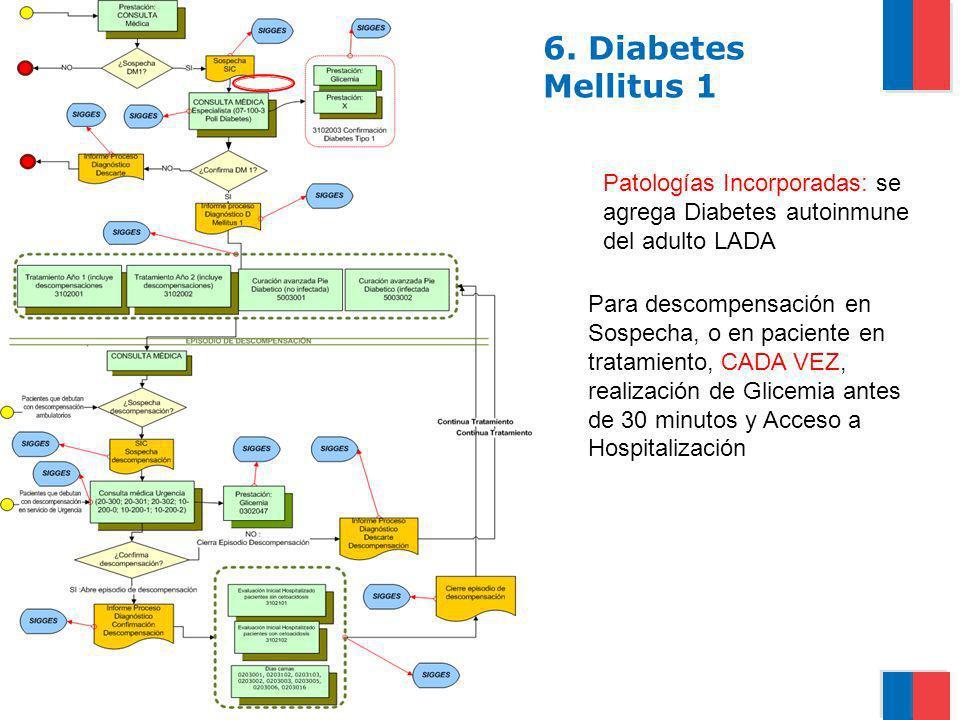6. Diabetes Mellitus 1Patologías Incorporadas: se agrega Diabetes autoinmune del adulto LADA.