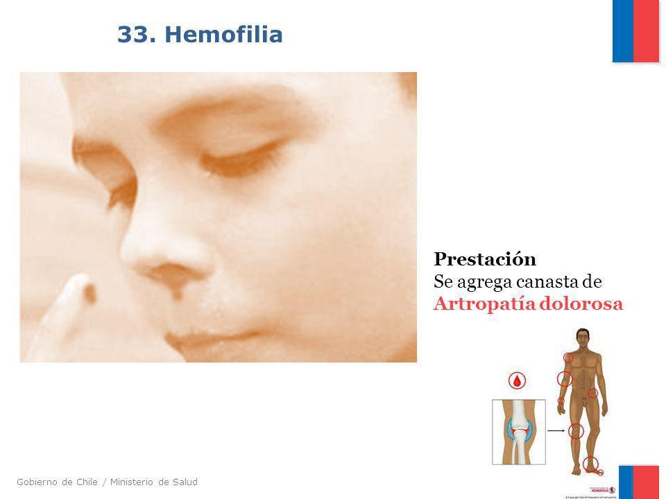 33. Hemofilia Prestación Se agrega canasta de Artropatía dolorosa