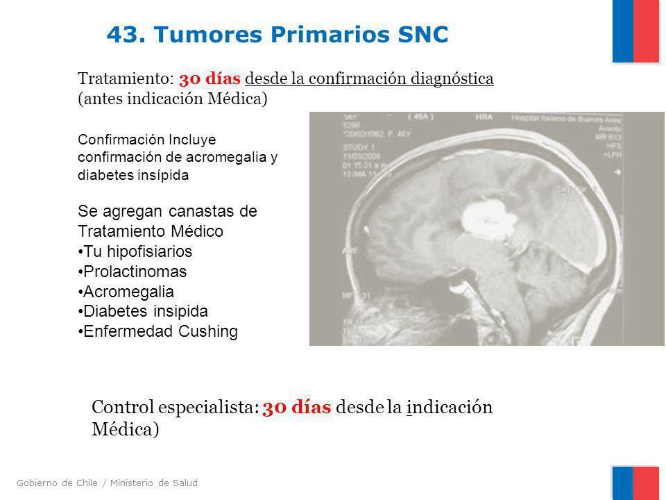 43. Tumores Primarios SNC Tratamiento: 30 días desde la confirmación diagnóstica (antes indicación Médica)