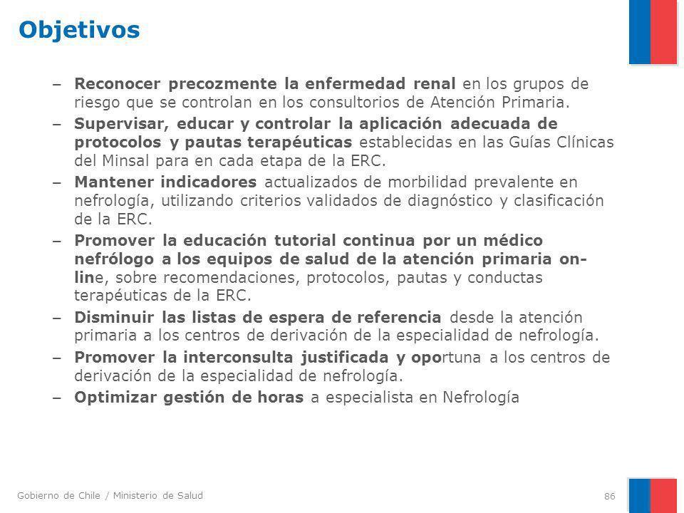 Objetivos Reconocer precozmente la enfermedad renal en los grupos de riesgo que se controlan en los consultorios de Atención Primaria.