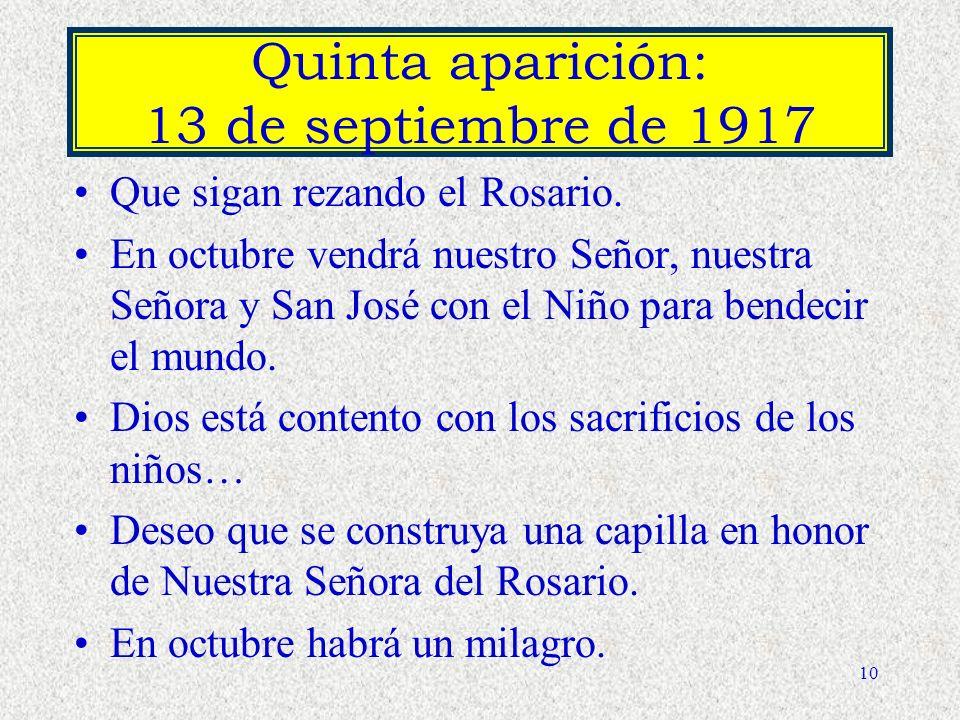 Quinta aparición: 13 de septiembre de 1917