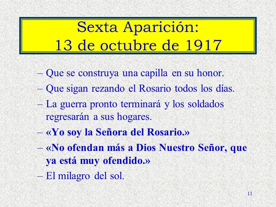 Sexta Aparición: 13 de octubre de 1917