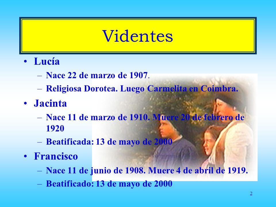 Videntes Lucía Jacinta Francisco Nace 22 de marzo de 1907.