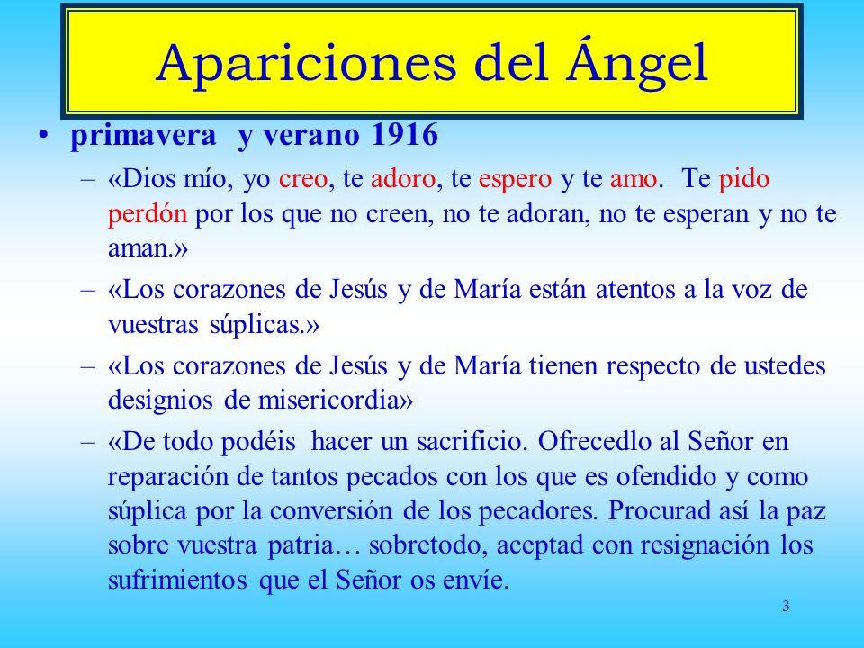 Apariciones del Ángel primavera y verano 1916