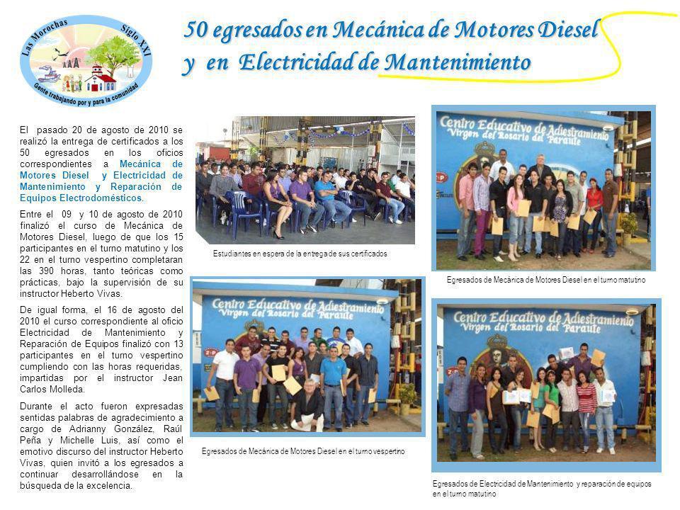 50 egresados en Mecánica de Motores Diesel y en Electricidad de Mantenimiento