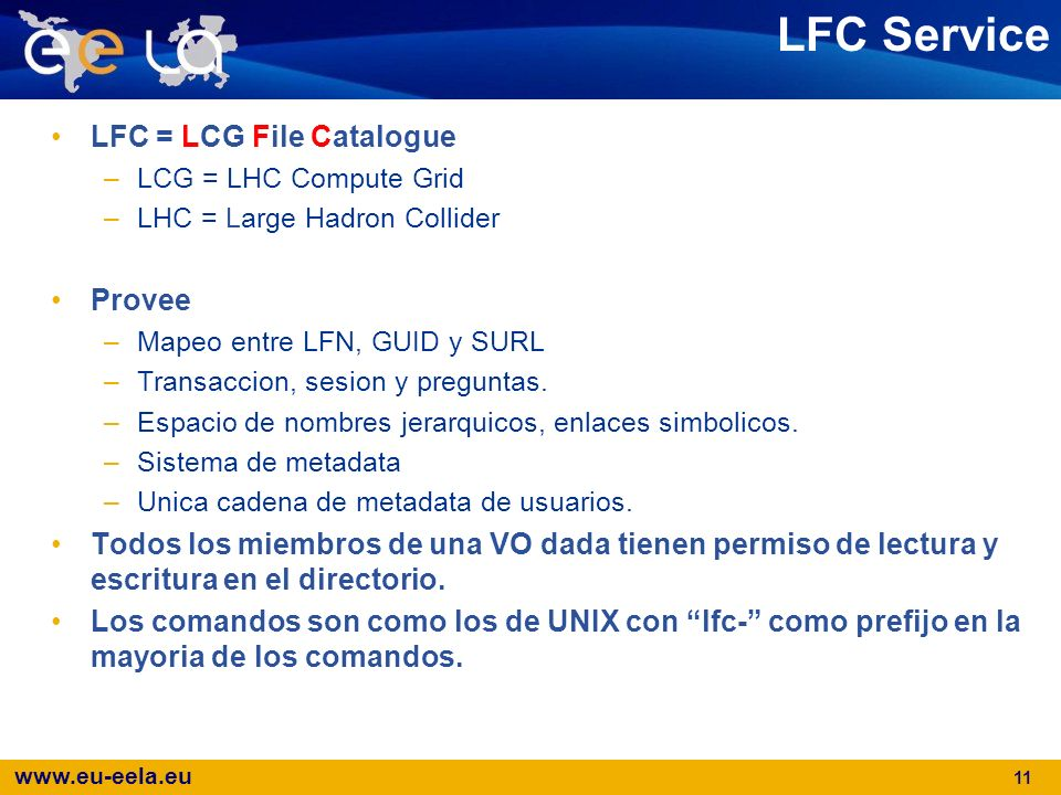 LFC Service LFC = LCG File Catalogue Provee