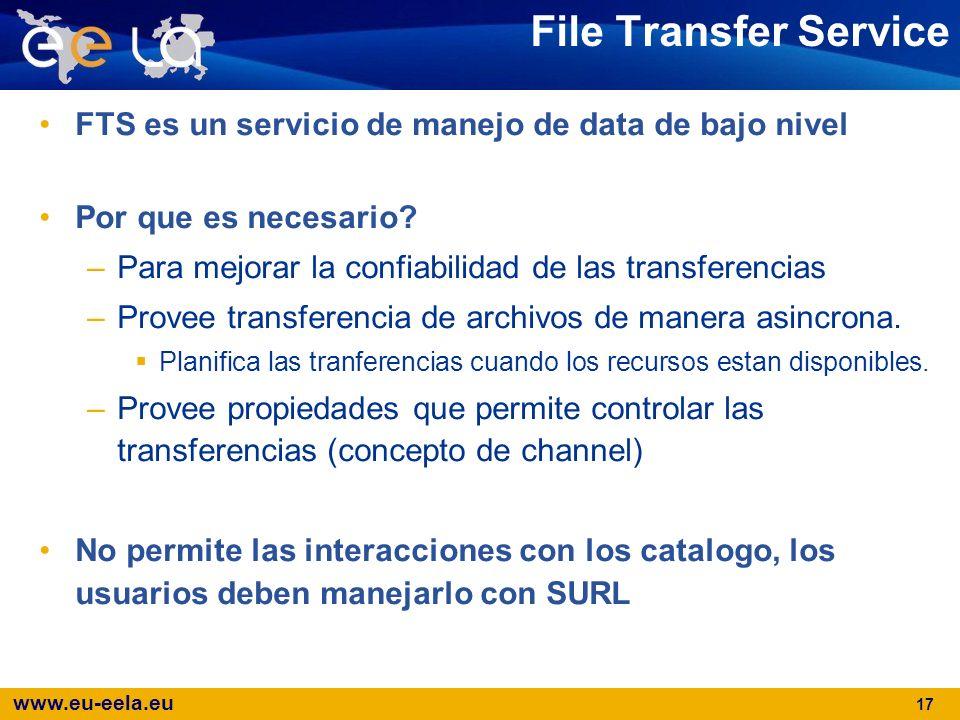 File Transfer Service FTS es un servicio de manejo de data de bajo nivel. Por que es necesario Para mejorar la confiabilidad de las transferencias.