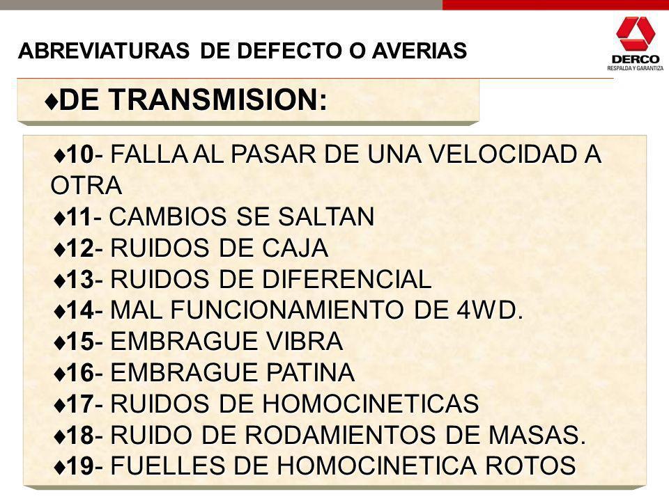 DE TRANSMISION: 10- FALLA AL PASAR DE UNA VELOCIDAD A OTRA