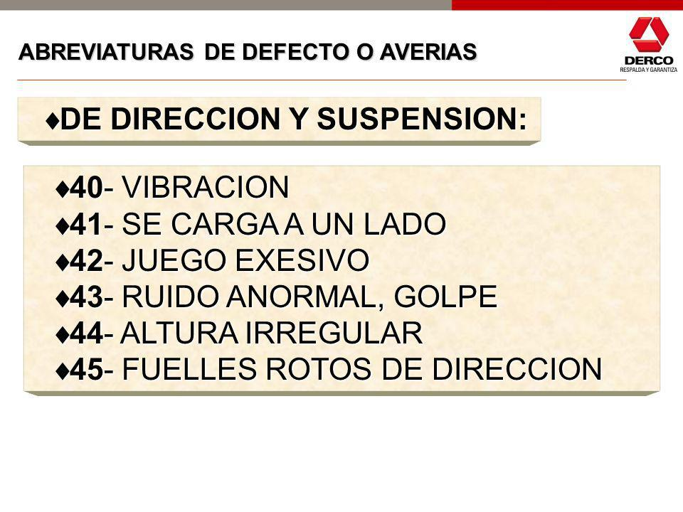 DE DIRECCION Y SUSPENSION: