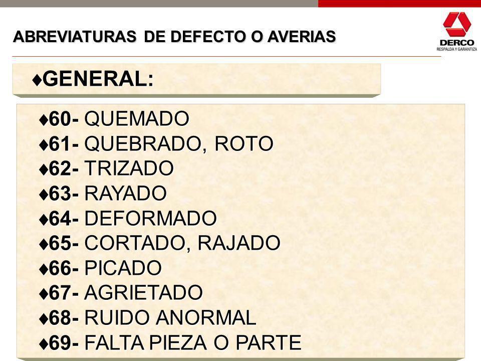 GENERAL: 60- QUEMADO 61- QUEBRADO, ROTO 62- TRIZADO 63- RAYADO