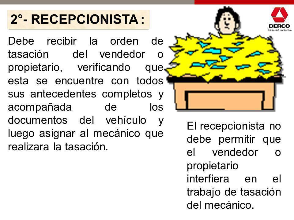 2°- RECEPCIONISTA :
