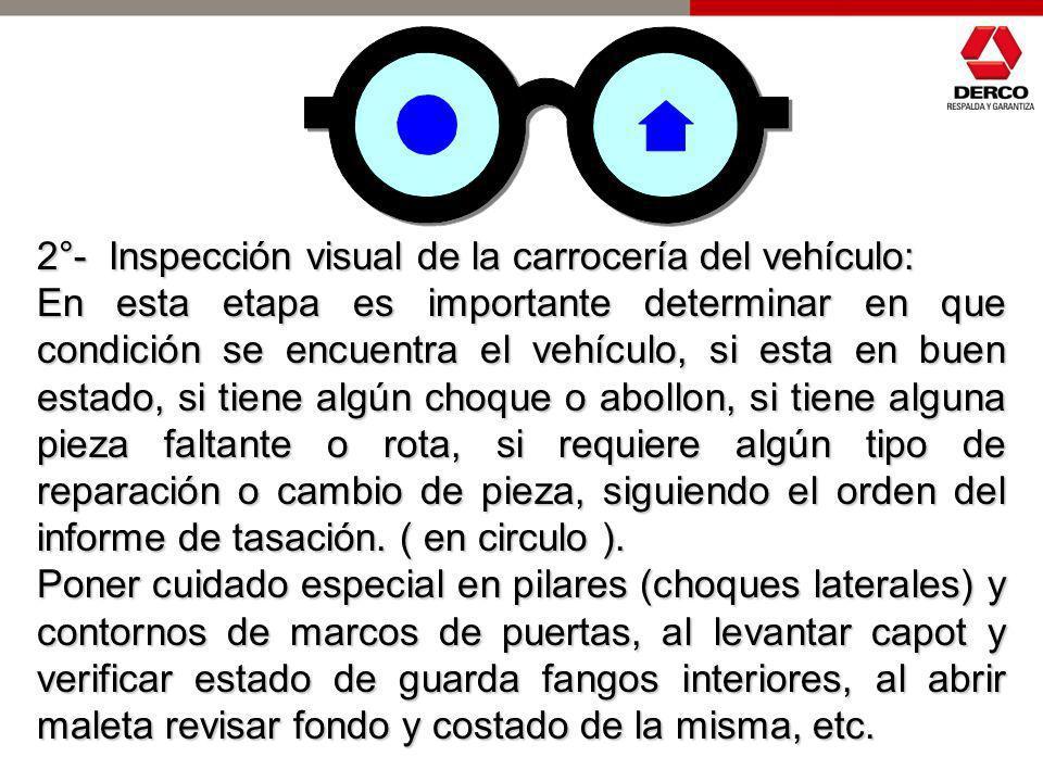 2°- Inspección visual de la carrocería del vehículo: