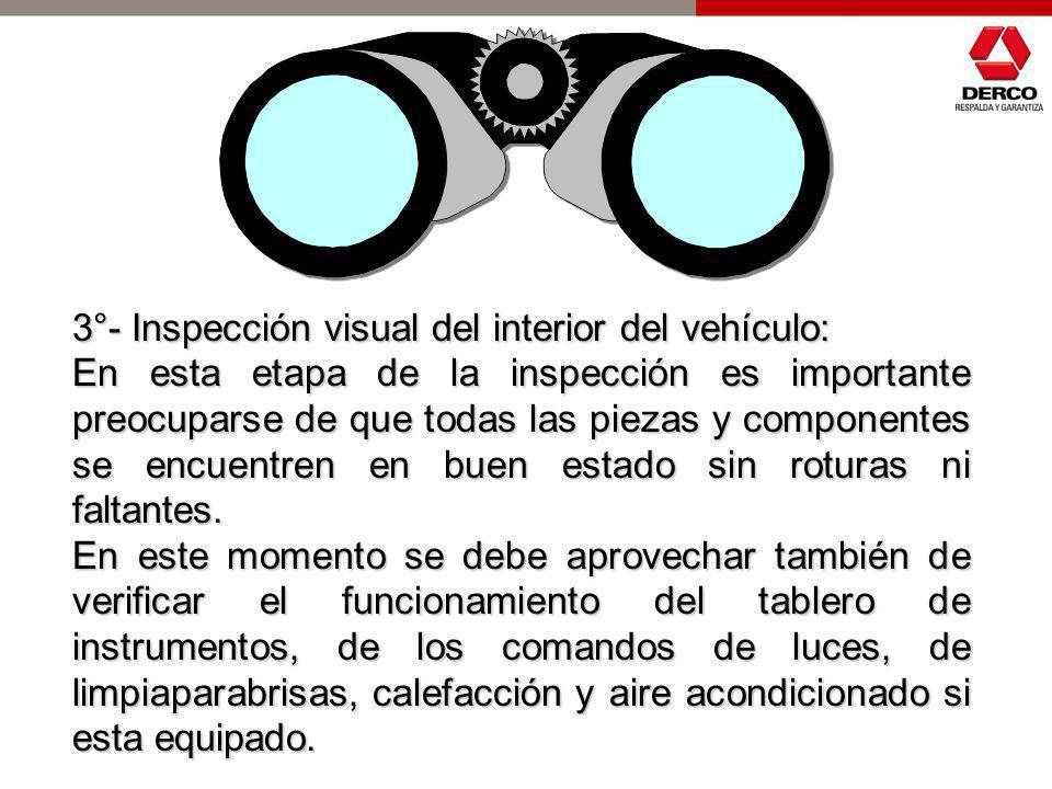 3°- Inspección visual del interior del vehículo: