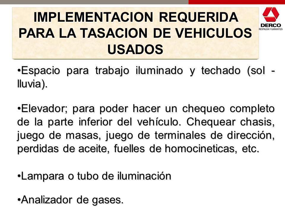 IMPLEMENTACION REQUERIDA PARA LA TASACION DE VEHICULOS USADOS