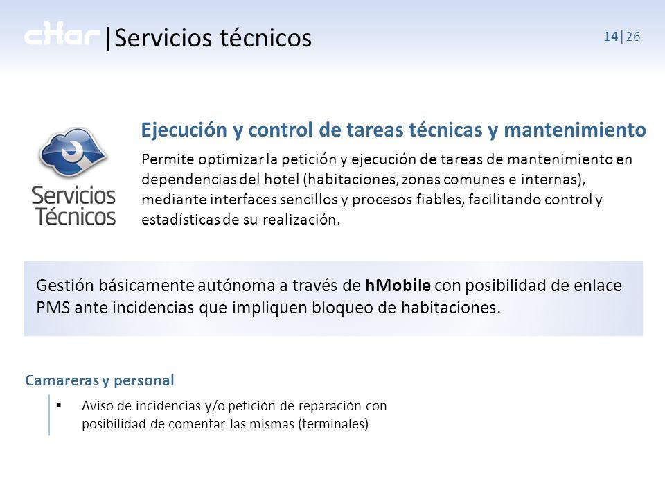 |Servicios técnicos Ejecución y control de tareas técnicas y mantenimiento.