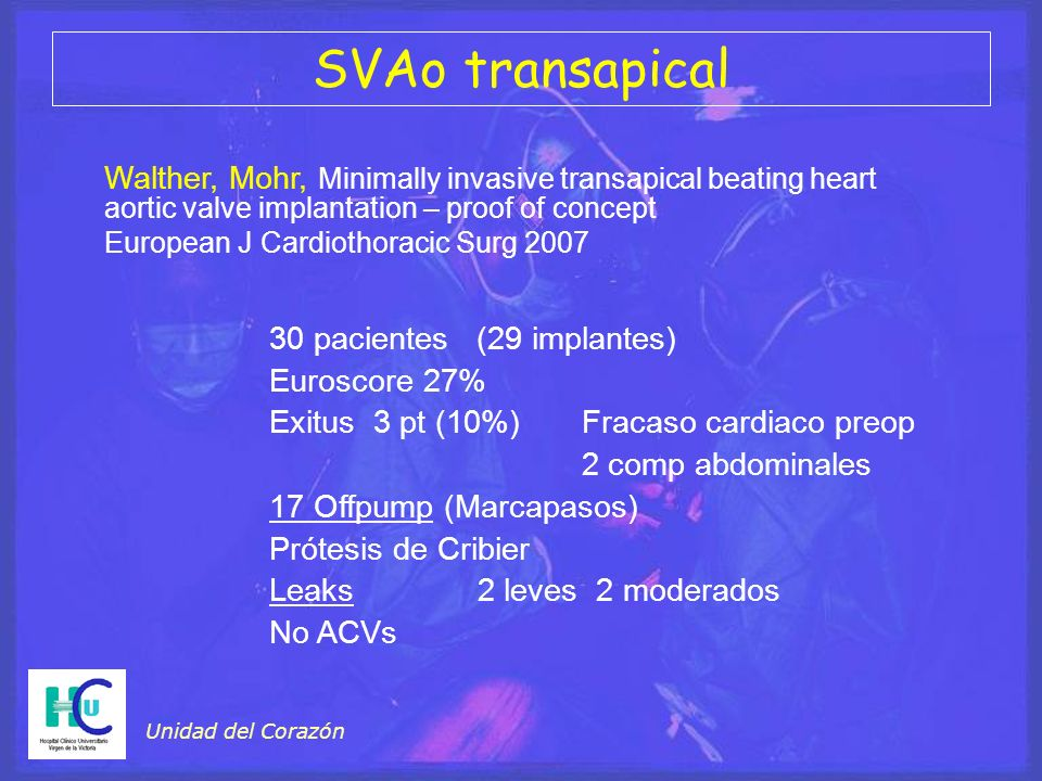 SVAo transapical Walther, Mohr, Minimally invasive transapical beating heart aortic valve implantation – proof of concept.