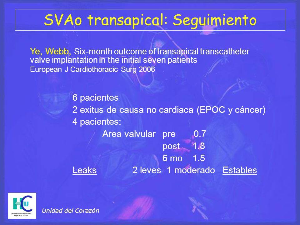 SVAo transapical: Seguimiento