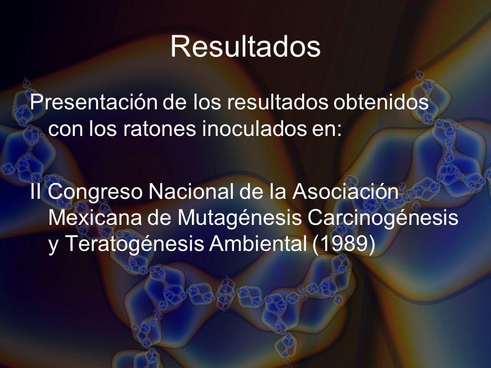 Resultados Presentación de los resultados obtenidos con los ratones inoculados en: