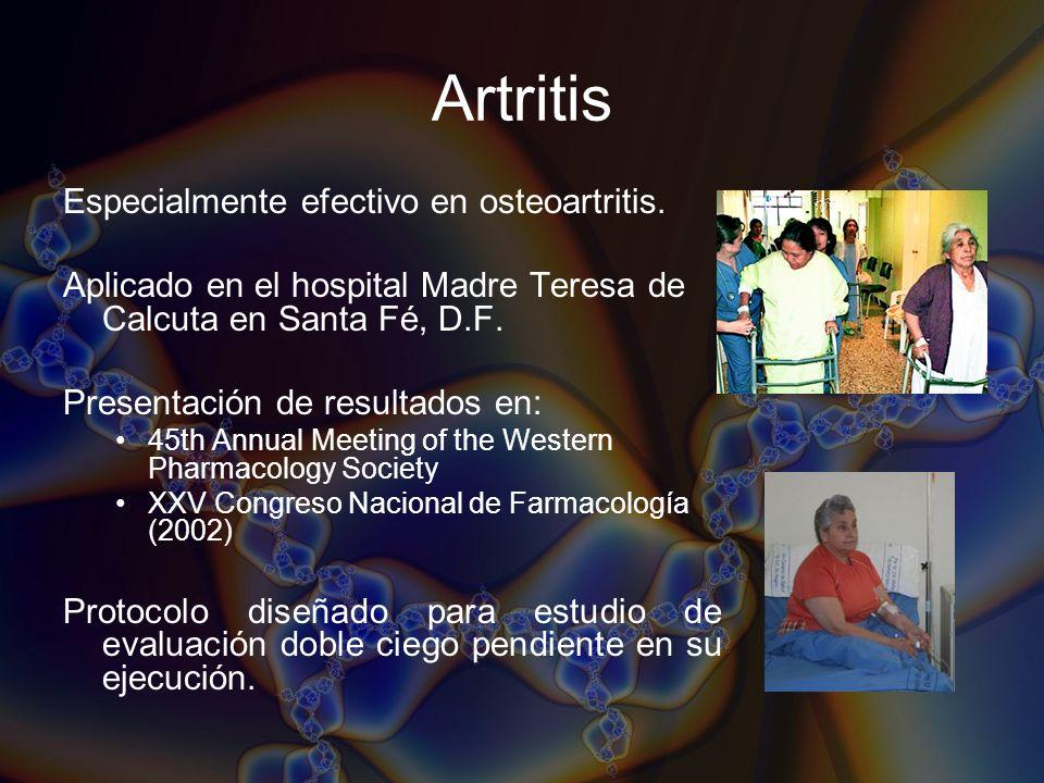 Artritis Especialmente efectivo en osteoartritis.