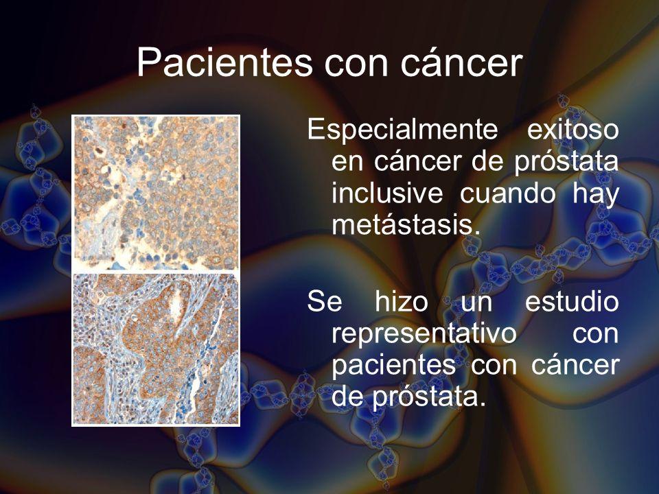 Pacientes con cáncer Especialmente exitoso en cáncer de próstata inclusive cuando hay metástasis.