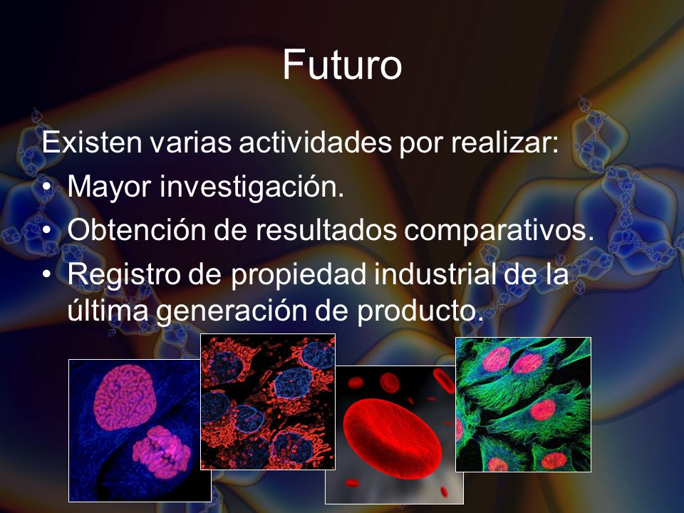 Futuro Existen varias actividades por realizar: Mayor investigación.