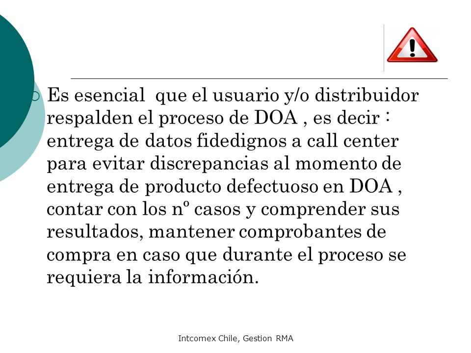 Intcomex Chile, Gestion RMA
