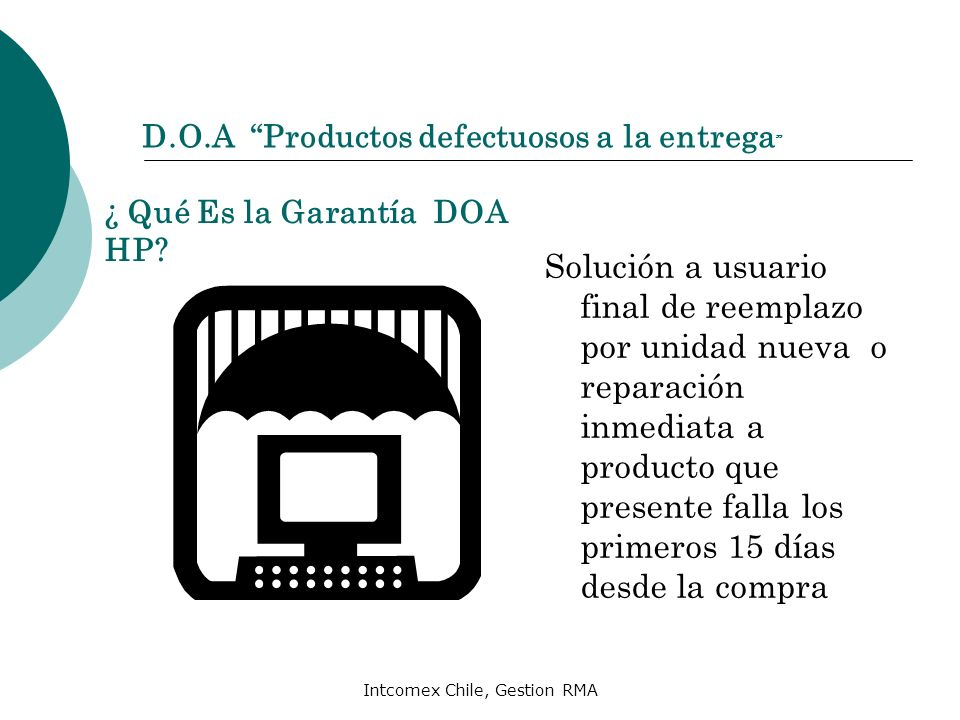 D.O.A Productos defectuosos a la entrega