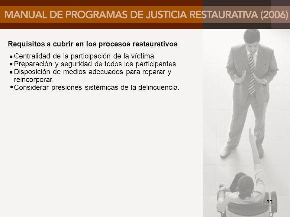 Requisitos a cubrir en los procesos restaurativos