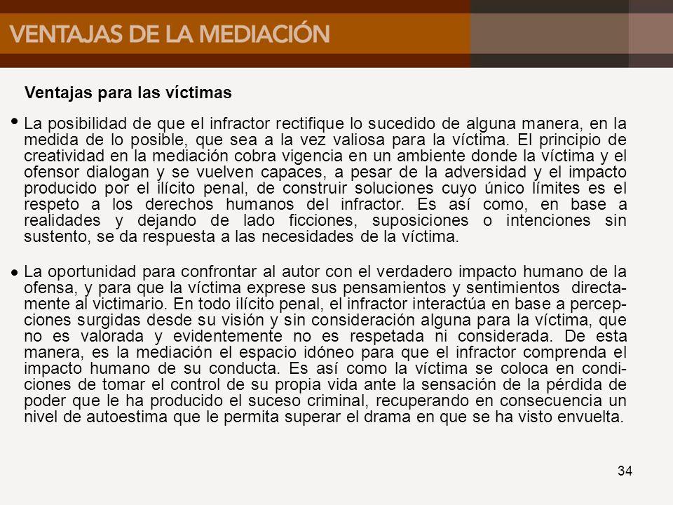 Ventajas para las víctimas