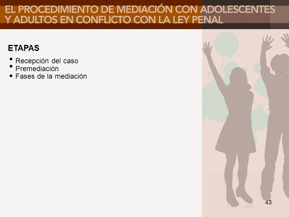 ETAPAS Recepción del caso Premediación Fases de la mediación