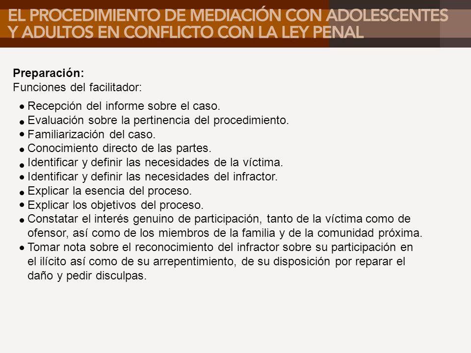 Preparación: Funciones del facilitador: Recepción del informe sobre el caso. Evaluación sobre la pertinencia del procedimiento.