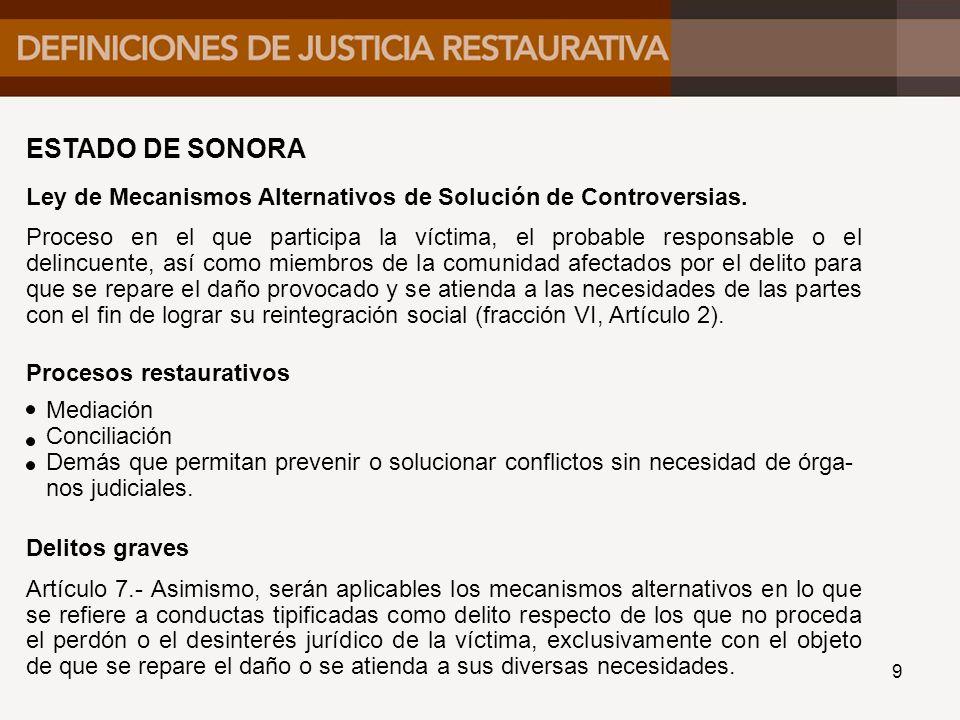 ESTADO DE SONORA Ley de Mecanismos Alternativos de Solución de Controversias.