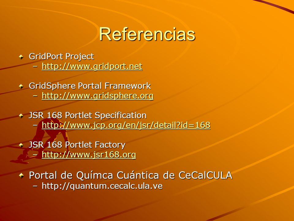 Referencias Portal de Químca Cuántica de CeCalCULA GridPort Project