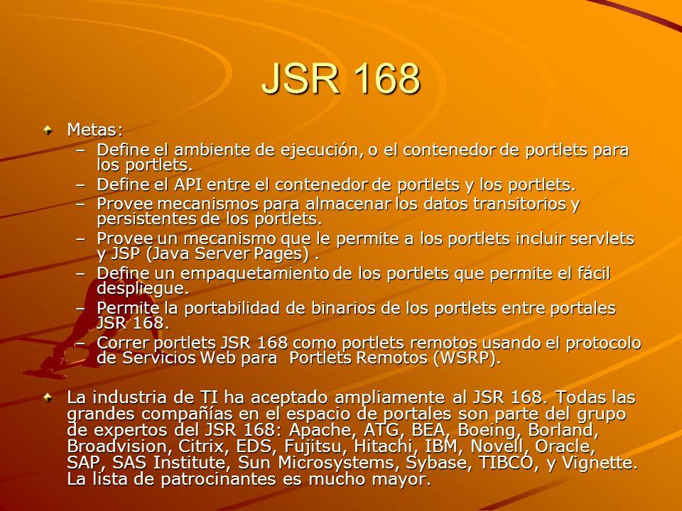 JSR 168 Metas: Define el ambiente de ejecución, o el contenedor de portlets para los portlets.