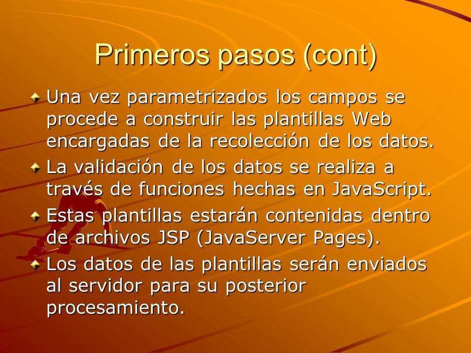 Primeros pasos (cont) Una vez parametrizados los campos se procede a construir las plantillas Web encargadas de la recolección de los datos.
