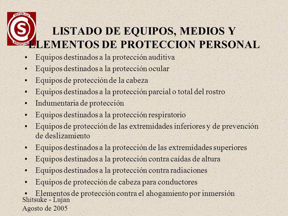LISTADO DE EQUIPOS, MEDIOS Y ELEMENTOS DE PROTECCION PERSONAL