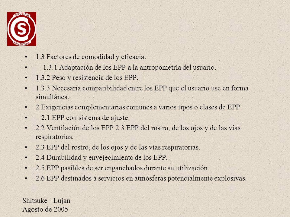 1.3 Factores de comodidad y eficacia.