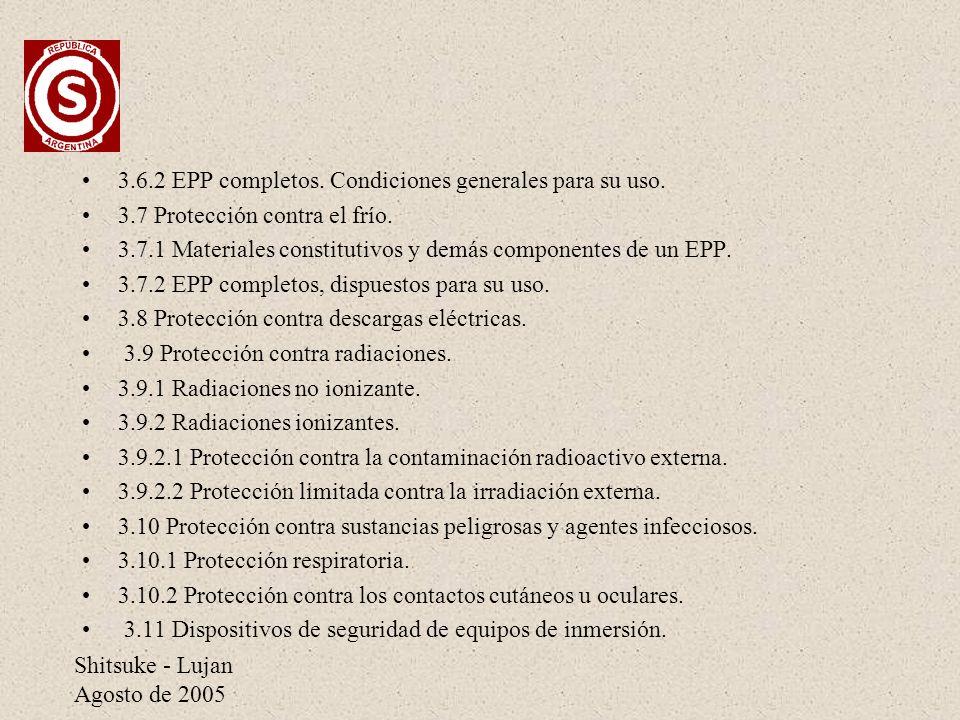 3.6.2 EPP completos. Condiciones generales para su uso.