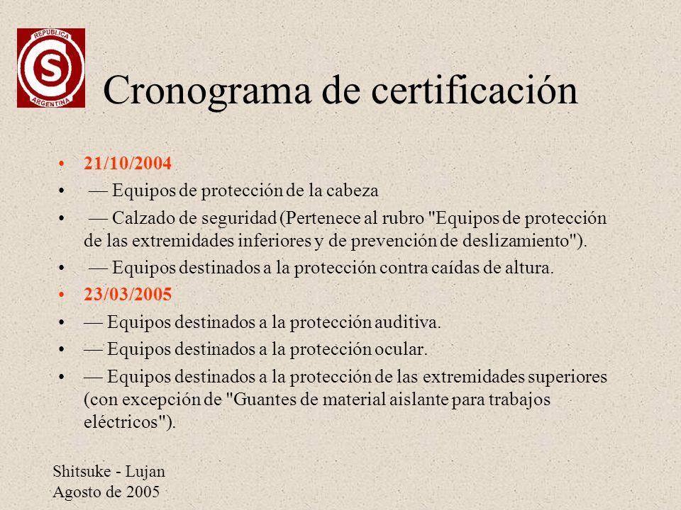 Cronograma de certificación