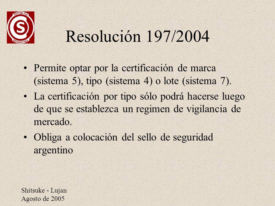 Resolución 197/2004 Permite optar por la certificación de marca (sistema 5), tipo (sistema 4) o lote (sistema 7).
