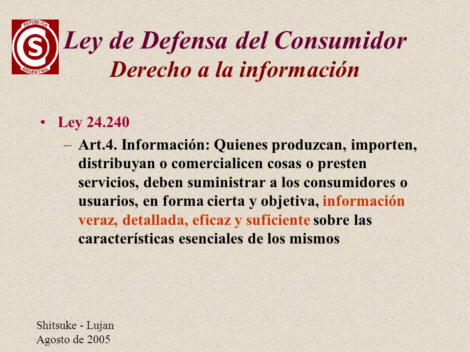 Ley de Defensa del Consumidor Derecho a la información