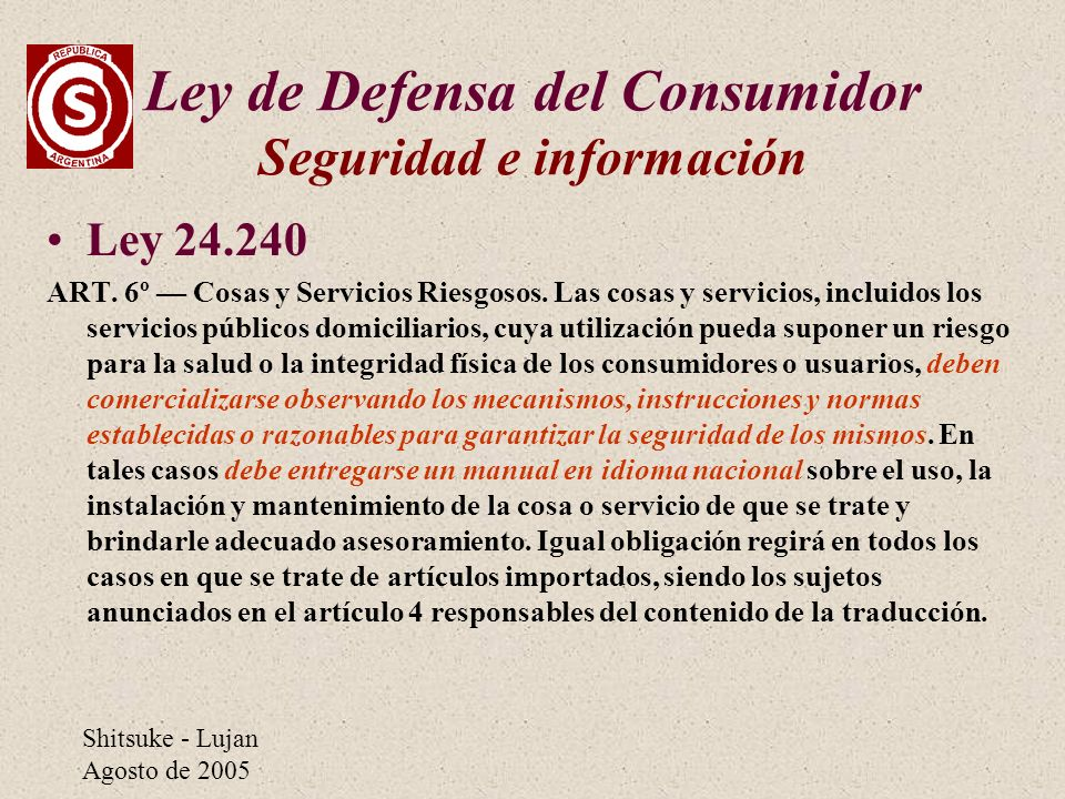 Ley de Defensa del Consumidor Seguridad e información