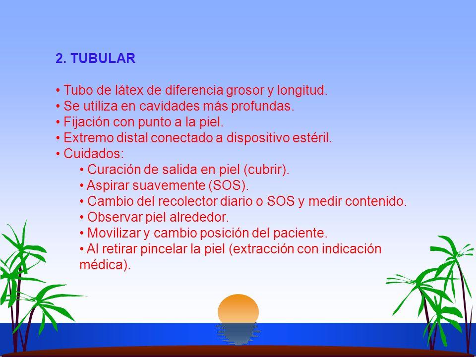 2. TUBULAR Tubo de látex de diferencia grosor y longitud. Se utiliza en cavidades más profundas. Fijación con punto a la piel.
