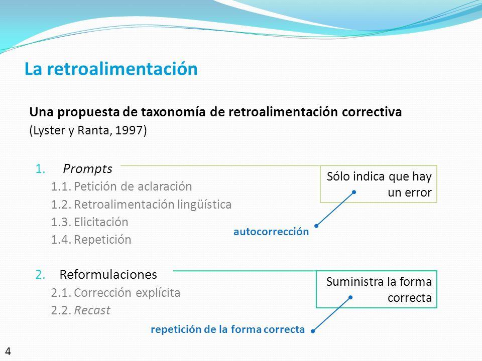 La retroalimentación Una propuesta de taxonomía de retroalimentación correctiva. (Lyster y Ranta, 1997)