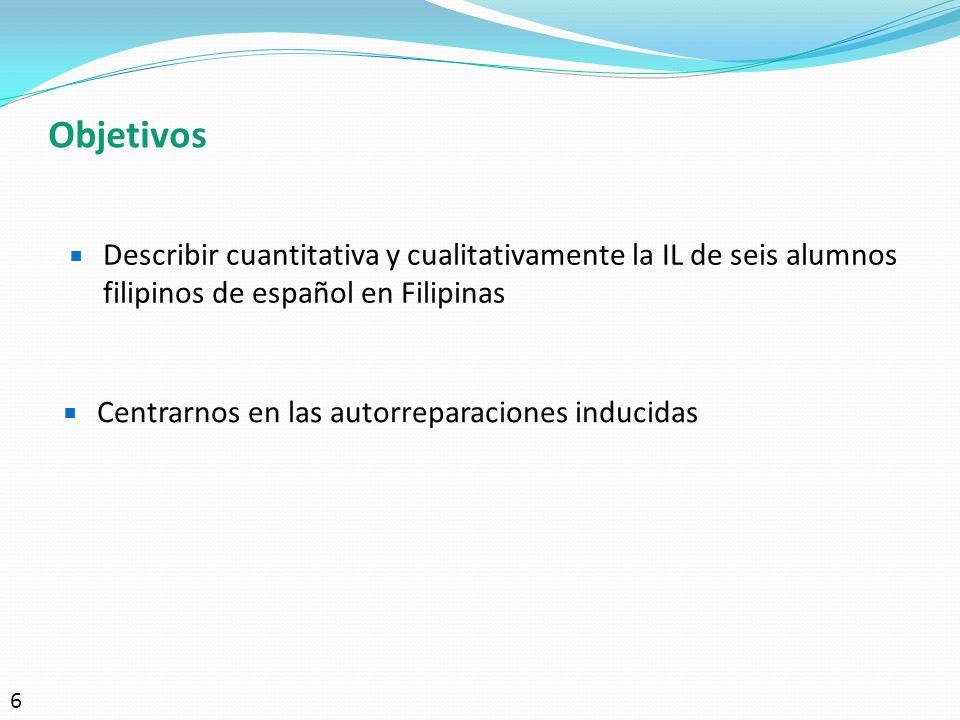 Objetivos Describir cuantitativa y cualitativamente la IL de seis alumnos filipinos de español en Filipinas.