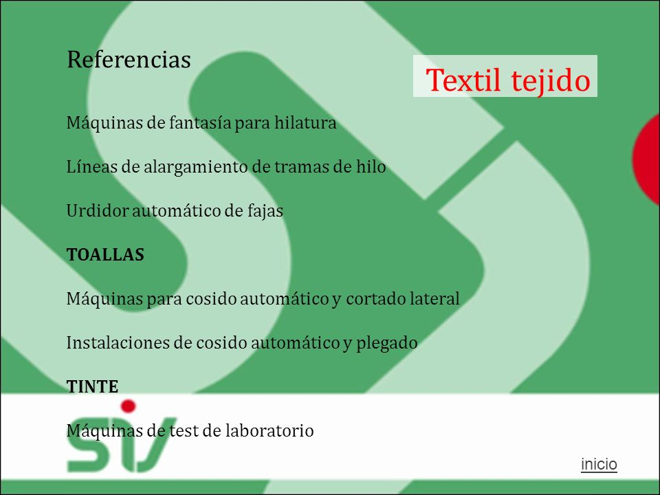 Textil tejido Referencias