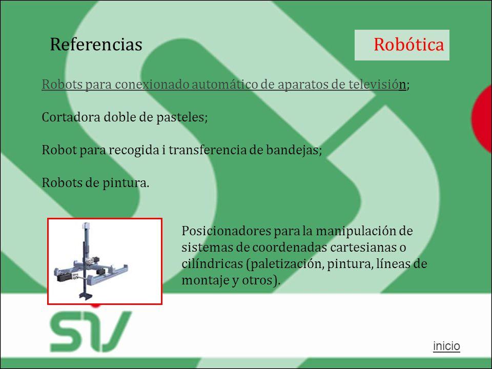 Referencias Robótica. Robots para conexionado automático de aparatos de televisión; Cortadora doble de pasteles;